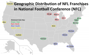 Geographic Distribution Map of NFC Teams