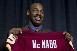 Donovan McNabb with his Washington Redskins Jersey