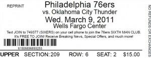 OKC @ PHI NBA ticket 2011.03.09