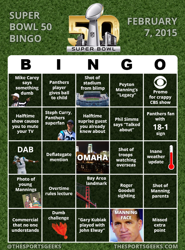 SuperBowl 50 Bingo
