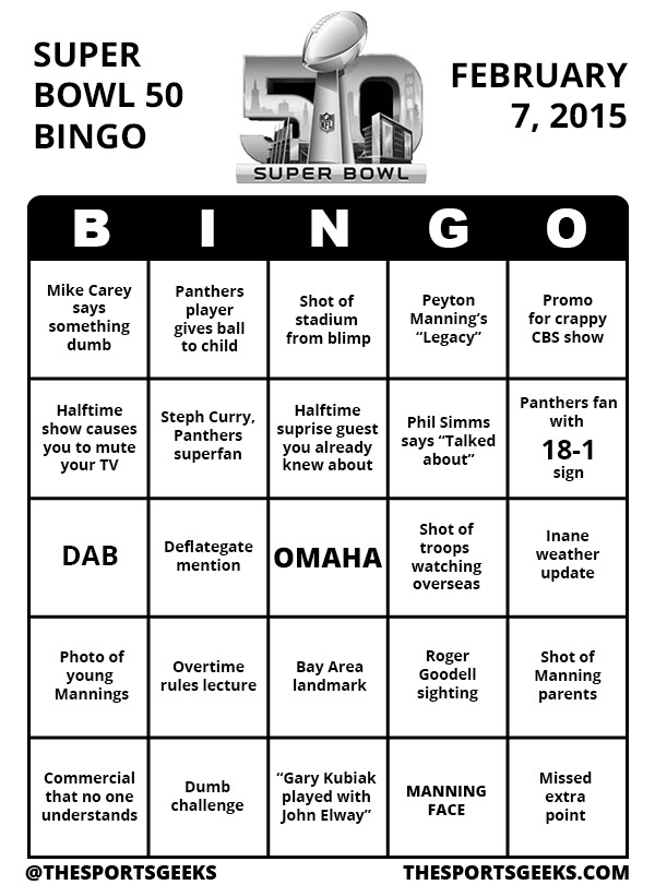 Super Bowl 50 Bingo printable black and white